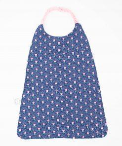 bavoir élastique serviette de cantine fleurs bleu