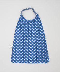 bavoir élastique serviette de cantine chat bleu